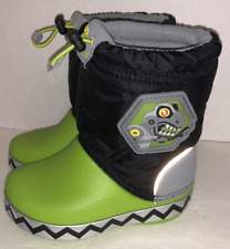 Crocs LodgePoint Light Up Boots Sz Toddler C 7 Black Green Dinosaur T-Rex EUC