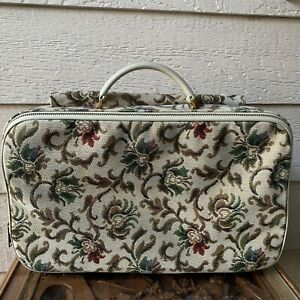 Tapestry Carpet Upholstery Vintage Retro Suitcase Luggage Floral Small Beige