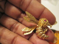 "REDUCED Vintage 14K Yellow Gold Articulated Bee Brooch Pin Ruby Eyes 1.25"" High"