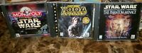 Star Wars Lot Of 3 Pc Games Star Wars Monopoly, Yoda Stories &The Phantom Menace