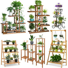 Wood Bamboo Metal Shelf Flower Pot Plant Stand Rack Garden Indoor Outdoor Patio