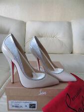 NIB Christian Louboutin Tucsy 120 Nude Silver Pump Heels 38 like Pigalle So Kate