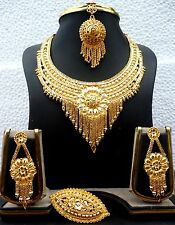 22K Gold Plated Heavy work 8'' Indian Wedding Necklace Earrings Tikka Ring