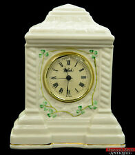 Vintage Belleek Ireland Shamrock Cashel Mantle Clock Giftware 9th Mark Blue