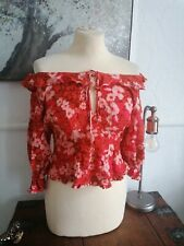 Free People Top red Size XS 8/10 Bardot frilly peasant   Boho bnwt