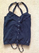 Ambercrombie & Fitch Criscross Strap Navy Blouse Size XS NWT