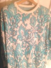 Designer Sweater XL One of a Kind Aqua Grey Cream Silver Paisley 75% Cotton
