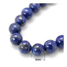 Fil De 24+ Bleu Lapis-Lazuli 8mm Teints Rond Perles HA02335