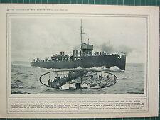 1915 Prima Guerra Mondiale WW1 Stampa ~ Affondamento Di U 12 Rammed Tedesco