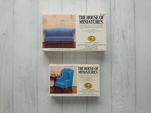 The House of Miniatures Chippendale Sofa #40015 & Wing Chair #40016 Furniture