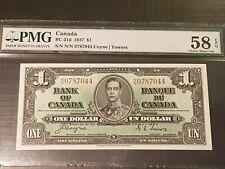 ➡➡GOLDEN AU- 1937 BC-21d N/N 0787044 Bank of Canada 1937 $1 PMG 58 EPQ CHOICE AU