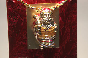 Swarovski Savvy Collection Christmas Santa Clauss Necklace Limited Edition Mint