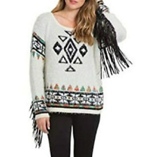 Elan Womens Aztec Print Faux Leather Fringe Sweater Size Medium