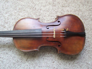 Antique Full Size Violin Unmarked Very OLD As Is