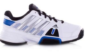 Adidas Barricade Team 3 xJ Tennis Shoes - White/Blue/Silver