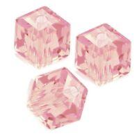 Glasperlen Tschechische Kristall Perlen Rosa 6 mm Würfel Glasschliffperlen X230