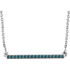 Azul Diamante Barra 45.7cm Collar en 14k Blanco Oro 1/6ctw