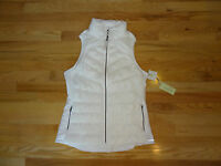 New  Womens Tangerine Lightweight Stretch Down Puffer Vest Running White M $78