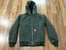 Boys L (10/12) - Carhartt Yyj130 Sandstone Flannel Quilted Lined Hooded Jacket