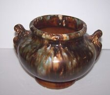 Old Stoneware Pottery Urn Jug Planter Pot Brown & Blue Gray Marbled Drip Finish