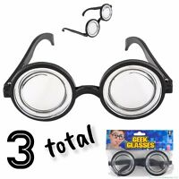 (3) Nerd Glasses Round Bubbles Glasses Bug Eyes Specs Coke Bottle Costume Goggle