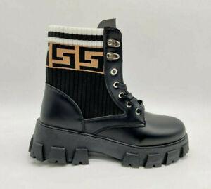 Womens Block Heel Platform Stretch Print Knit Sock Chunky Combat Ankle Boot Size