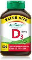 Jamieson Vitamin D3 1,000 IU Value Supplement Pack, 500-Count