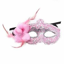 Venetian Mask fiore piuma Halloween display Carnevale Venezia per rosa G7V5