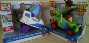 New Disney Pixar Toy Story 4 RC & Woody Pop-Up Racer & Buzz Lightyear Spaceship
