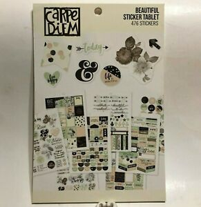 NEW Carpe Diem BEAUTIFUL Sticker Tablet, 12 Sheets, 476 Stickers, For Planners