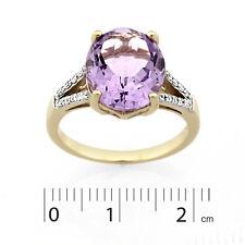 9ct Yellow Gold Rhodium Plated Pink Amethyst & Diamond Ring.