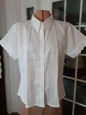 "Vintage ""Lalana"" Cotton Blouse Shirt Top Xxl White Eyelet Design Button Front"