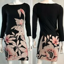 Joseph Ribkoff Women's 2 Black Pink Floral Stretchy Pencil Sheath Bodycon Dress