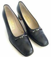 Salvatore Ferragamo Horsebit Womens Size 6.5B Slip On Pumps Block Heels Shoes