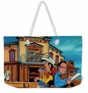 Lucky Luke and Morris Cartoon All-Over Graphic Print Tote Bag or Weekend Bag