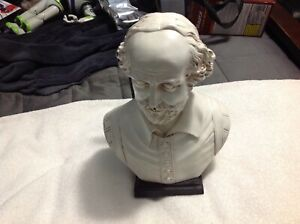 """William Shakespeare Bust Famous English Playwright On Wood Stand 10"""""""