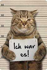 Ich war es ! Gangster Kater Blechpostkarte Blechschild Schild 10,5 x 14,8 cm