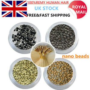 Silicone Lined Nano Micro Beads Rings Loop for NANO Hair Extensions 1000PCS uk