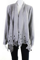 Radzoli Womens Cutout Open Front Faux Suede Waterfall Jacket Gray Size Medium