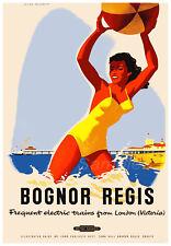 VINTAGE BOGNOR REGIS BRITISH RAILWAYS A3 POSTER PRINT
