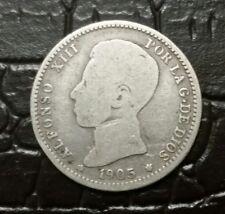 Escasa moneda de 1 peseta de plata 1905, Alfonso XIII, scarce silver coin