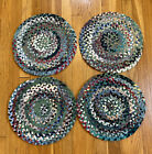 4 Vintage Hand Braided Rag Rug Chair Pads Round Seat Cushions 14 Inches
