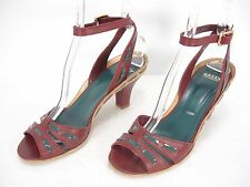 BALLY PEACE LEATHER OPEN TOE ANKLE STRAP HEELS SHOES SANDALS WOMEN'S 38.5  8 US