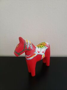 Vintage Swedish Dala Horse 6 Inch Red Wooden Hand Carved And Painted