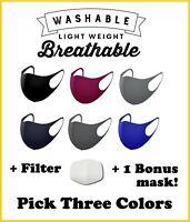 3 Pack + Bonus! Face Mask Standard w/ Filter Washable Reusable Cover Breathable