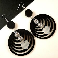 1 Pair of Black Wood Earrings with Acrylic Clear Frosted Leaf Tassels # 1662