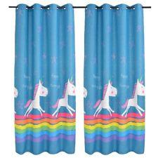 vidaXL 2x Children's Printed Blackout Curtains 140x240cm Blue Window Drapes