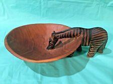 Carved African Zebra Nut Bowl
