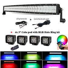 "32"" 5D CREE LED Curved Light Bar RGB Strobe Bluetooth Control + 4X 3"" Halo Pods"