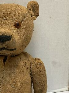 antique jointed teddy bear vintage toy brown early stuffed